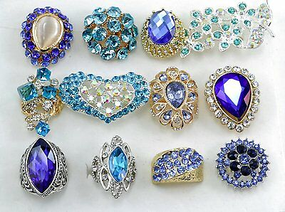 12 PC WHOLESALE Lot Blue CHIC COCKTAIL COSTUME Fashion Jewelry RINGS#BL1