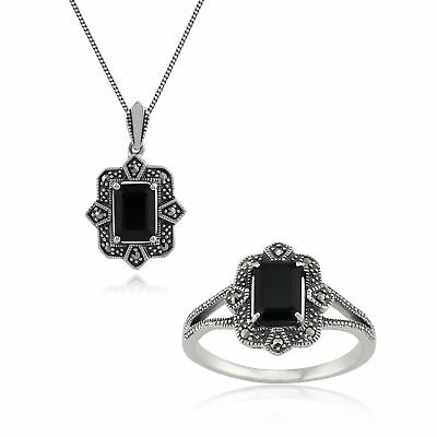 Sterling Silver Art Deco Black Spinel & Marcasite 45cm Necklace and Ring Set