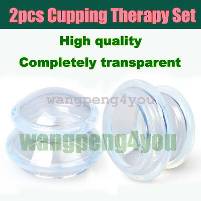 2 PCS Medical Vacuum Silicone Transparent THERAPY Massage Body Cups Cupping Jar