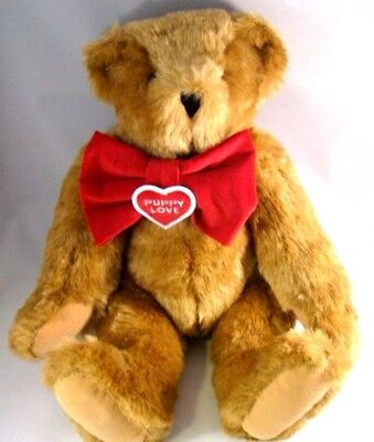 Vermont Teddy Bear Puppy Love Jointed Brown Teddy Bear Red Bow