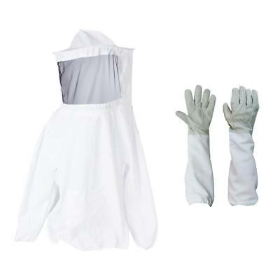 1 Set of Pro Cotton Beekeeping Jacket Veil and Gloves Vented Long Sleeves