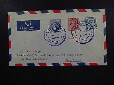 Cover Irak Iraq Baghdad TBC Labaratory 1955 Air Mail to Copenhagen Denmark