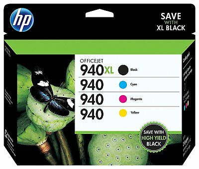 HP 940XL Black 940 Color Ink Cartridge 4-Pack GENUINE NEW