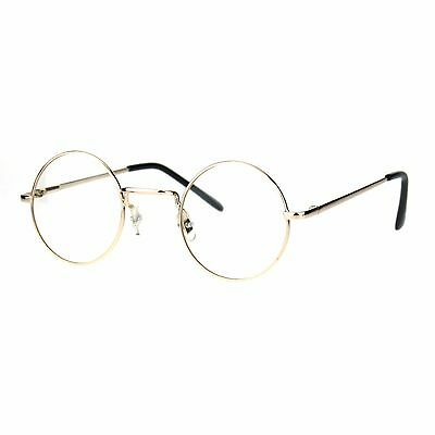 Small Round Circle Clear Lens Glasses Metal Narrow Frame Spring Hinge
