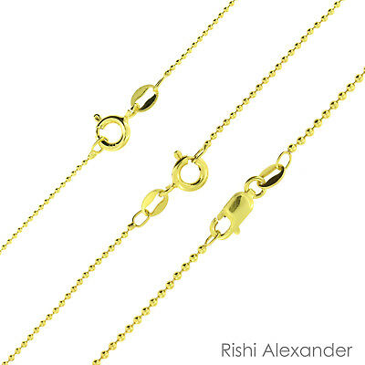 14k Gold Overlay 925 Sterling Silver Ball Bead Chain Necklace All Sizes