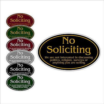 """No Soliciting Aluminum Metal Oval Sign 12"""" x 7"""" Choice of Colors"""