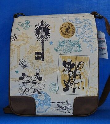 Disney Mickey Minnie Mouse Tan Cross Body Shoulder Purse Bag NWT