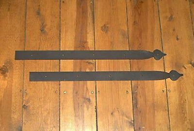 "PAIR of 24"" WROUGHT IRON DUMMY STRAP HINGES by PCBS Glad to do custom work"
