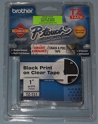 Brother P-Touch TZ-151 1 inch black print on clear tape labeling new/sealed
