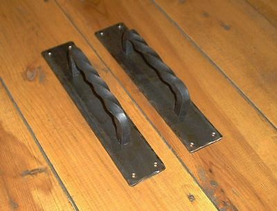 Pair Rectangle Wrought Iron Door Handles Pulls by PCBS Glad to do custom work