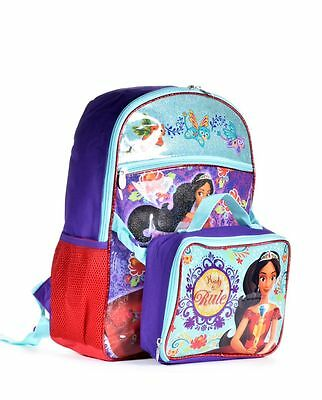 """New Disney Girls' Elena Of Avalor """"ready To Rule"""" Backpack With Lunch Bag"""