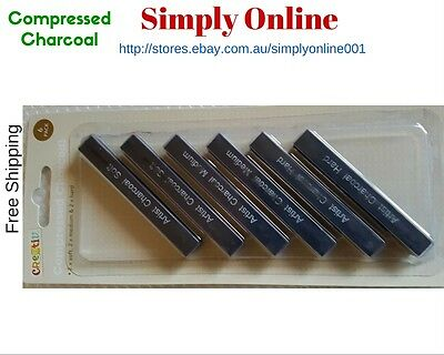 6PCs Quality Art Compressed Charcoal Soft, Medium, Hard Hardness - Free Postage