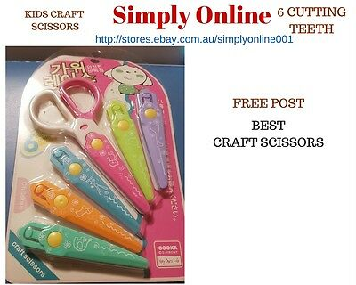 Craft Kids Scissors SET - Student School Stationery - 6 Cutting Teeth Free Post