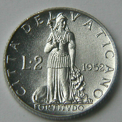 1952 VATICAN Pope Pius XII yr.XIV Coin - 2 Lire - UNC lustre - Fortitude w/ lion