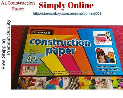 Construction Paper - 40 Sheets - 10 Colours - A4 Size - Best for Any Craft Work