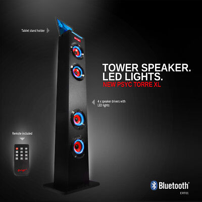 PSYC Torre XL Bluetooth Wireless Tower Speaker iPad Tablet Holder USB Remote