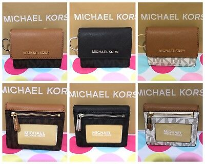 NEW Michael Kors  PVC/ Leather Jet Set Travel Card Case ID Key Holder  $118
