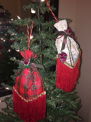 Lot of 2 Rustic Victorian Christmas Sachets with Cording Hanger w/ fringe & Rose