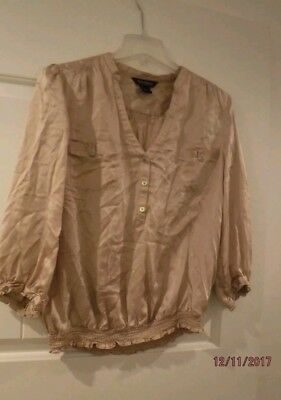 White House Black Market Brown Gold Beige Silk Button Up Blouse Size Large