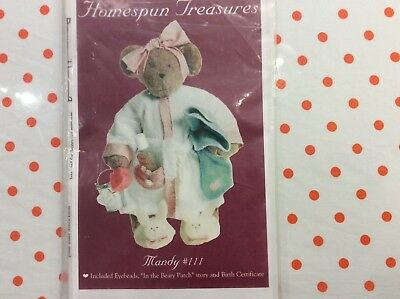 "Bear Pattern.  ""   Mandy. ""  18"" Bear Includes  Eyes, & Patterns For Clothes"
