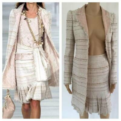 ad741af24 CHANEL VINTAGE ICONIC Jacket And Skirt & Sash W/ Faux Pearl Accent Dress Sz  Fr 3