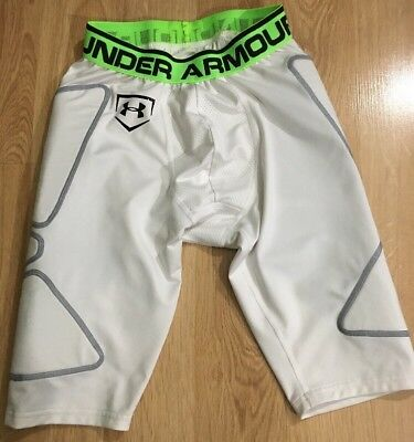 Under Armour Baseball Sliding Shorts Mens Size Small White And Lime Green