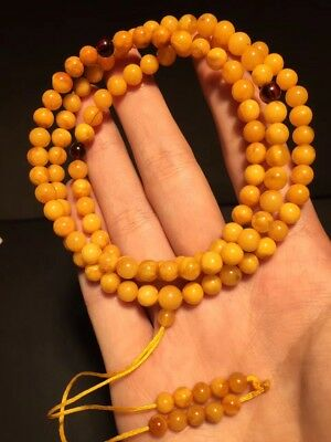 108 Beads Genuine White round beads baltic amber necklace egg yolk butterscotch