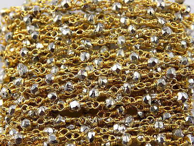 5 Feet Natural Silver Pyrite 3-4mm Rondelle Faceted Gold Plated Beaded Chain