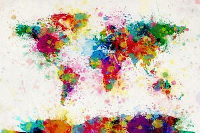 Map Of The World Watercolor Art Silk Poster print home Decor