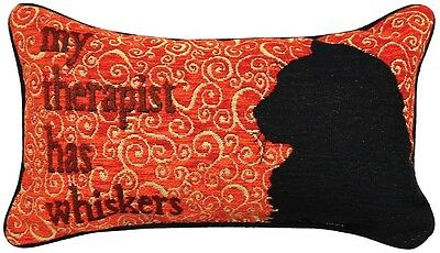 "Cat Tapestry Accent Pillow With Words ""My Therapist Has Whiskers"", 16"" x 9"""