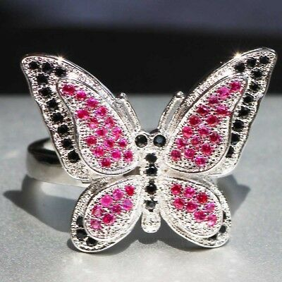 925 Silver Filled Multi Sapphire Birthstone Engagement Wedding Butterfly  Ring