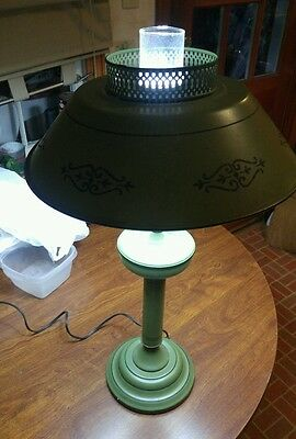 026 Vintage Green Tole Table Torchiere Lamp Light w/ Shade Top, Key Glass Globe