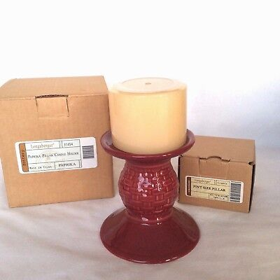White Buttercream Vanilla Candle & Paprika Red Pillar Candle Holder Longaberger