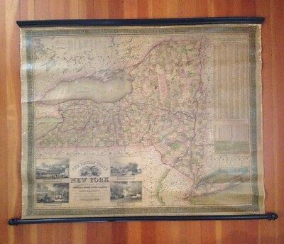 "Large antique roll-up wall map of New York State, ""The Empire State,"" dated 1846"
