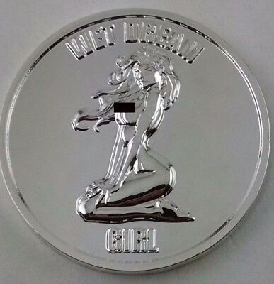 Wet Dream Girl-Nude Good Luck Challenge Coin-Silver Mirror Plating-2 FREE Flips