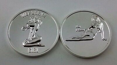 2 Coin Set of Nude Challenge Coins. Silver Mirror Plating.