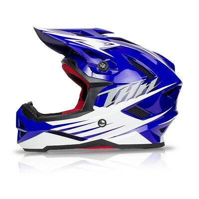 THH T-42 Youth/Kids Full Face BMX or Downhill Helmets - BLUE YOUTH SMALL 47-48cm