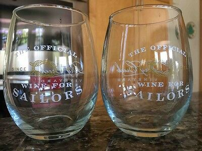 """2 Dry Creek Vineyard Winery Stemless Wine Glasses - """"Official Wine for Sailors"""""""