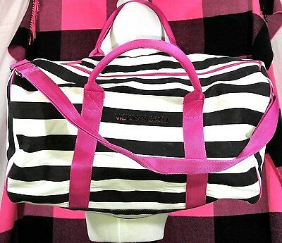 Victoria's Secret Pink White Black Stripes Tote Duffle Bag Weekender Travel RARE