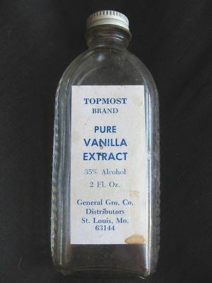 vtg TopMost Top Most brand Vanilla Extract glass bottle St. Louis MO grocery