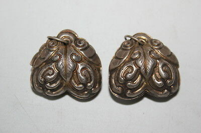 Pair Large Antique Chinese Hand-made Silver Fruit  Bell