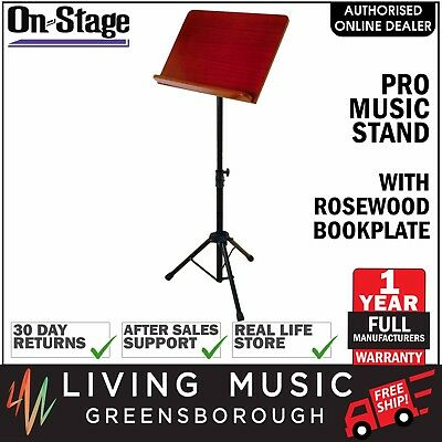 NEW On-Stage Stands Pro Tripod Music Stand with Rosewood Bookplate