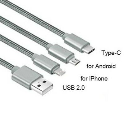 WHOLESALE 3 in 1 USB Charging Cable for ANDROID C -,Type  and iPhones  £2.49