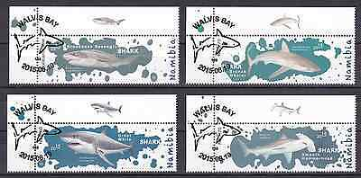 NAMIBIA - 2015 - Sharks of Namibia. Complete set, 4v. First day stamp