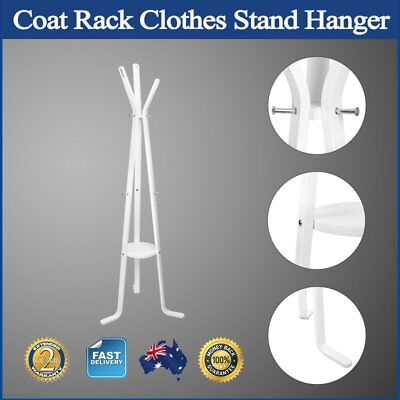 Coat Rack Clothes Stand Hanger 3 Legged 6 Hooks 3 Branches Wooden Plate White