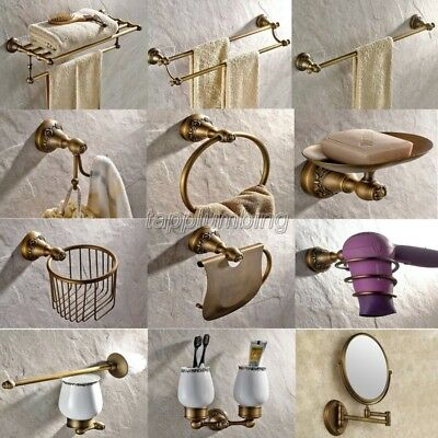 Antique Brass Carved Art Base Bathroom Accessories Set Wall Mount Towel Bar