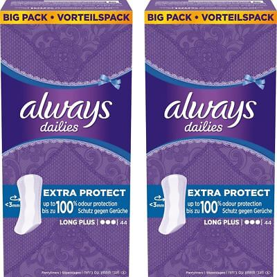 Always Dailies Panty Liners Long Plus Fresh Protect Odour Neutralise - 88 Pack