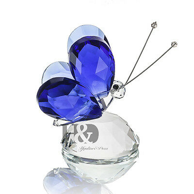 H&D Blue Crystal Flying Butterfly Paperweight Animals Decorative Collectibles