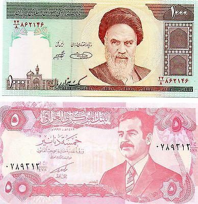 Ayatollah Khomeini and Saddam Hussein two note set