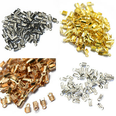 400pcs Necklace Tips Metal Clasps Hooks Fold Over Return Crimp Cord End Bead